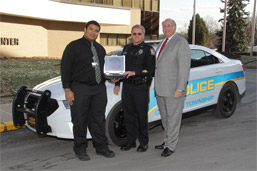 Carroll Township Police Officer Michael Fendya and Louis J. Panza Jr., president and CEO of MVH photo