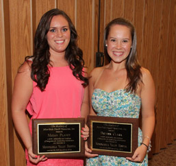 Volunteen scholarship recipients Megan R. Planey, of Belle Vernon and Breann N. Clark, of Charleroi photo