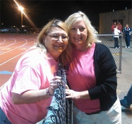 Kathy Cameron, poses with MVH's Director of Radiation, Deb Burkhardt, at the Ringgold Pink Out photo