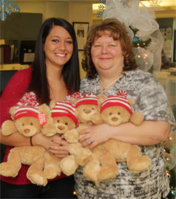 Brittany Fagioletti delivers 144 Gund bears to her mom Kim, nurse manager photo